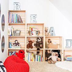diy bookshelf DIY Bookshelf Ideas - Easy DIY Playroom Stepped Crate Bookshelf - DYI Bookshelves and Projects - Easy and Cheap Home Decor Idea for Bedroom, Living Room - Step by Step tutorial
