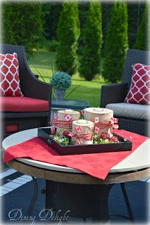 With Canada Day fast approaching, I wanted to add some simple decor to my backyard area to reflect this special holiday. Canadian Things, Summer Centerpieces, Birch Logs, Canada Day, Outdoor Furniture Sets, Outdoor Decor, Oasis, Red And White, Backyard