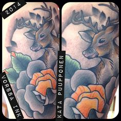 https://www.facebook.com/VorssaInk, http://tattoosbykata.blogspot.fi, #tattoo #tatuointi #katapuupponen #vorssaink #forssa #finland #traditionaltattoo #suomi #oldschool #pin up #deer