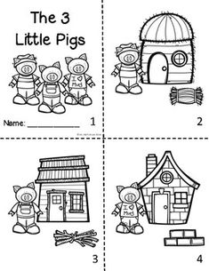 3 Little Pigs Sequencing mini-booklet Nursery Rhyme Crafts, Nursery Rhymes Preschool, Preschool Themes, Sequencing Worksheets, Story Sequencing, Kindergarten Worksheets, Fairy Tale Activities, Language Activities, Literacy Activities