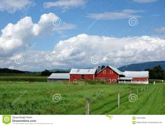 Photo about An old red barn of a dairy farm in Vermont in the setting of the green mountains in the Champlain Valley. Image of open, cows, buildings - 102218493 Green Mountain, Vermont, Barn, Mountains, Landscape, Building, Red, Travel, Image