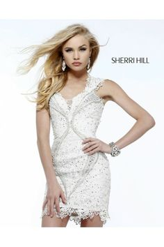 Sherri Hill 9803 Sheer Open Back Ivory 2014 Prom Dress