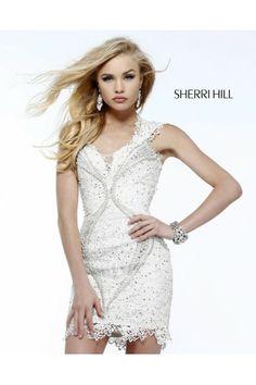 Sherri Hill 9803 Sheer Open Back Ivory 2014 Prom Dress