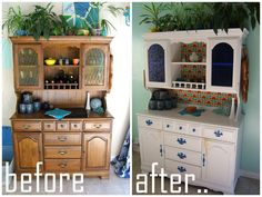 Nine Red: Hutch Makeover Part 2, Done! ( i love before and afters of old furniture from thrift stores! )