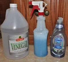 "Shower cleaner - just vinegar and Dawn dish soap... worth a try!  It says, ""powerful cleaning product that will melt soap scum and tub and shower buildup, clean sinks, appliances and just about anything. Just spray it on, scrub, rinse and be amazed. For tough soap scum build-up, spray the mixture on and allow it to sit as long as overnight. Then, scrub and rinse."""