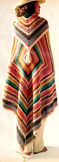 ~Crocheted Mexican Poncho, 1970's | House of Beccaria