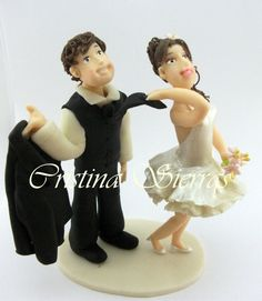 #Wedding Cake topper.   This is an example of a custom made Wedding Cake topper that I created, #Bride pulling Groom. I can customize the dress and tux just for you!   Fo... #caketopper #birthday #wedding #bride #groom #marroriage