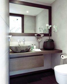 modern bathroom - downstairs bathroom one day? Beautiful Bathrooms, Modern Bathroom, Small Bathroom, Master Bathroom, Modern Vanity, Guest Toilet, Downstairs Toilet, Bathroom Renos, Laundry In Bathroom