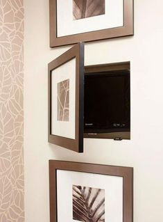 Nifty Niches carved out between wall studs provide the prefect spot to conceal bathroom items of all shapes and sizes. Here, a trio of cutouts house luxury items. Black-and-white framed art prints function as cabinet doors. Secret Storage, Built In Storage, Creative Bathroom Storage Ideas, Bathroom Ideas, Design Bathroom, White Framed Art, White Art, Hidden Spaces, Hidden Rooms In Houses