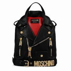 Moschino Biker Jacket Women Leather Backpack Black