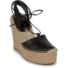 Saint Laurent Leather Espadrille Wedge Sandals (3.975 VEF) ❤ liked on Polyvore featuring shoes, sandals, apparel & accessories, black, boho sandals, wedges shoes, leather wedge sandals, black leather sandals and black leather espadrilles