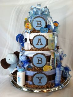 Boy Diaper Cake: Blue Brown. $119.00, via Etsy.