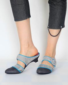 Gray & Turquoise mules shoes with clasp women by orenvekslershoes