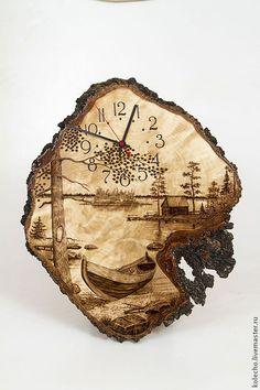 Купить Часы настенные на капе - бежевый, часы, часы настенные, настенные часы, часы из дерева #Woodburningart