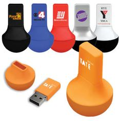 """USB drive 2.0. Memory stick on a weighted base means it will never fall over. Mix and match colors of base and top. Size: 1"""" x 2""""."""