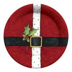 Christmas Decorated Paper Plates, 10.5-Inch, 8-Pack, Santa's Belt