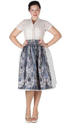 16436 Tramontana 70er Dirndl creme grau Creme, Midi Skirt, Skirts, Fashion, Dirndl, Oktoberfest, Floral Patterns, Silk, Blouse