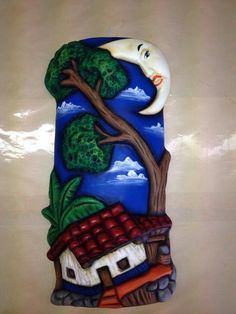 Teja Tile Crafts, Concrete Crafts, Diy Home Crafts, Clay Crafts, Decor Crafts, Arts And Crafts, Clay Houses, Fimo Clay, Bottle Painting