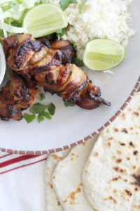 Get this delicious recipe for Grilled Korean Chicken & Bacon Skewers with Homemade Tortillas & Cotija Cheese from Chef Ronnie Woo. Fun Easy Recipes, Easy Meals, Chicken Bacon, Chicken Recipes, Homemade Flour Tortillas, Korean Chicken, Korean Food, Korean Recipes, Good Food