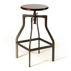 @Overstock.com.com - Cyprus Backless Adjustable Swivel Stool - The Cyprus backless stool is an angular original for those looking for an eye-catching piece of contemporary design. It pairs a circular wood seat in a distressed cherry finish with narrow metal legs in a classic pewter hue.   http://www.overstock.com/Home-Garden/Cyprus-Backless-Adjustable-Swivel-Stool/8120060/product.html?CID=214117 $91.99