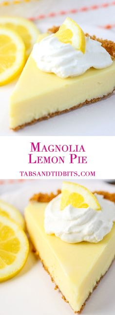 A creamy and sweet lemon pie in a graham cracker crust topped with homemade whipped cream!