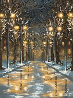"VERONICA MINOZZI ""In the Park""  Ipad  paintings."
