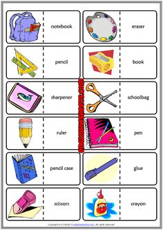 Classroom Objects ESL Printable Dominoes Game For Kids