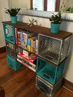 Diy milk crate storage clever ideas to recycle plastic milk crates diy milk crate storage bench . Plastic Milk Crates, Plastic Bottles, Diy Casa, Easy Home Decor, Diy Furniture, Milk Crate Furniture, Furniture Storage, Modern Furniture, Furniture Design