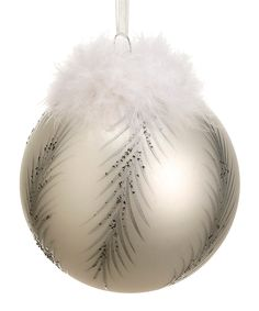 White & Silver Fluffy Feather Ornament