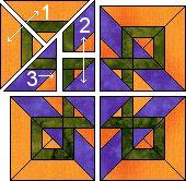 Celtic Sunrise quilt block pattern.
