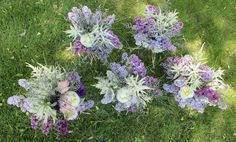 May 2015 Wedding by Agnes' Arrangements. Pretty mix of Spring flowers: Lilac, Peony, Astilbe, Limonium, and Lisianthus with a touch of bear grass for accent