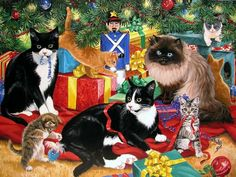 Christmas cats Wallpapers - Page 4 Christmas Scenes, Christmas Animals, Christmas Cats, Xmas, Illustrations, Illustration Art, Hello Kitty Christmas, Tres Belle Photo, Christmas Card Pictures