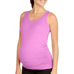 Oh! Mamma Maternity Basic Tank with Side Ruching-- Available in Plus Size, Size: 3X Plus, Purple