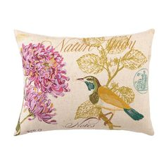 Linen-blend pillow with a bird motif.   Product: PillowConstruction Material: Linen-blend cover and feather down...