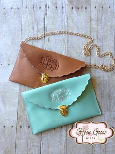 Monogram Scalloped Clutch Purse With Gold Chain - Envelope Clutch Purse - Bridesmaid Gift