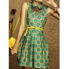 Trendy Sleeveless Turn Down Collar High-Waisted Print Design Wide Hem Dress For Women