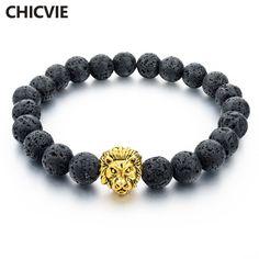 CHICVIE Natuursteen Vergulde Leeuw streng Mannen Armband Femme Handgemaakte Kralen Armbanden Etnische Mannen Sieraden Geschenken SBR160001