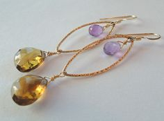 Whiskey Quartz, Amethyst, Gold Chandelier Earrings – Beth Lerner Jewelry http://bethlernerjewelry.com/collections/earrings/products/whiskey-quartz-amethyst-gold-chandelier-earrings