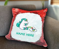 Unicorn pissing rainbow Personalized Sequin Cushion cover with your name unicorn sequin pillow personalised cushion cover magic sequin cover by funkytshirtsfactory on Etsy Sequin Pillow, Unicorn Cushion, Personalised Cushions, Cushion Covers, Soft Fabrics, Sequins, Rainbow, Magic