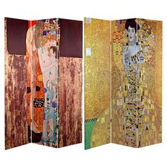 Oriental Furniture Double Sided Works of Klimt 3 Panel Room Divider Block Bauer/Three Ages of Woman - CAN-KLIMT2