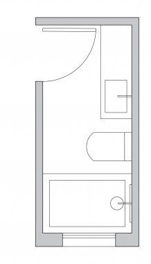 Ensuite Bathroom Floor Plans 3ft x 9ft small bathroom floor plan (long and thin) with shower