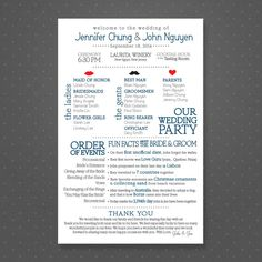 Printable Wedding Program  Fun Facts About Bride by PixelProposals