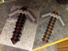 Minecraft Pickaxe Cake: On the left is the cake - on the right is the foam repilica.
