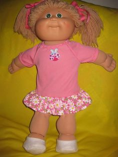 Cabbage Patch doll clothes/pink polyester knit dress w/flower print ruffle skirt