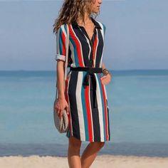 69c9c7323a3 DeRuiLaDy женское летнее Рубашка полоску платье дамы Повседневное длинным  рукавом Пляжные пляжное платья 2018 осень модный