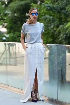 4f715a7d76e casual tee with slit skirt 2017 and lace up sandals 2017 for women