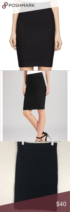 BCBGMAXAZRIA Alexa Skirt in a size Small BCBGMAXAZRIA Black Alexia Skirt in a size Small.  I bought this to wear myself but its too small for me, very tight fitting.    🌿Wide waistband, ridged bandage knit detailing 🌿Pull-on style, no closure 🌿Rayon/spandex 🌿Machine wash or dry clean 🌿imported BCBGMaxAzria Skirts Pencil