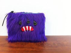 Small Purple Monster Pouch Three Green Eyes by ShopGhoulieGirls, $20.00