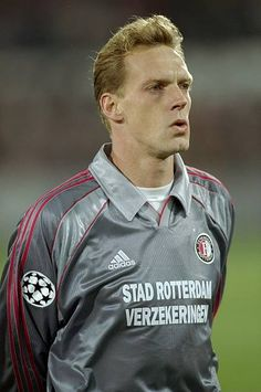 Peter Van Vossen of Feyenoord lines up before the UEFA Champions League match against Marseille played at the De Kuip Stadium in Rotterdam Holland. Uefa Champions League, Rotterdam, Lineup, Holland, Motorcycle Jacket, Van, News, Marseille, The Nederlands