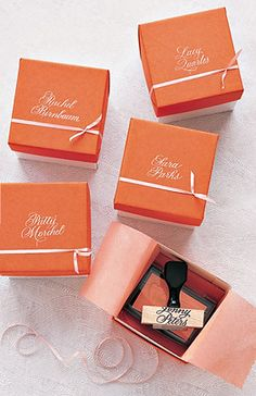custom rubber stamps, with each bridesmaid's name.
